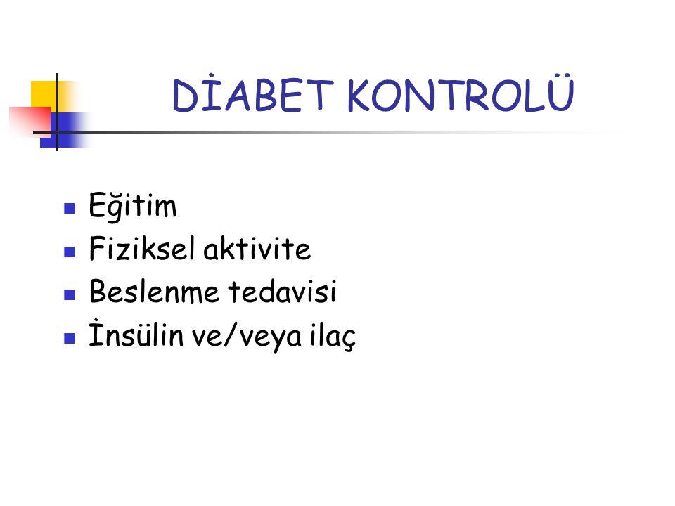 DİABET KONTROLÜ Eğitim Fiziksel aktivite Beslenme tedavisi İnsülin ve/veya ilaç