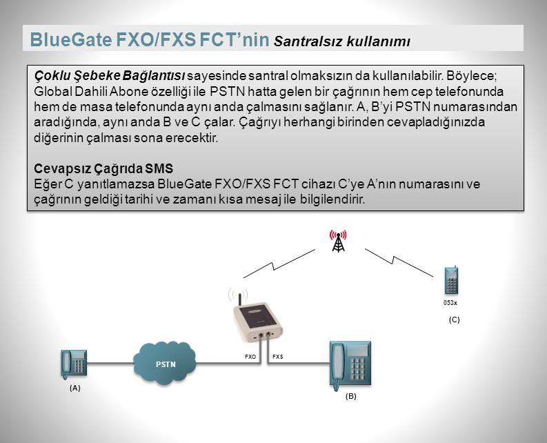 BlueGate FXO/FXS FCT'de Santralin dahilisine bağlantı Çoklu Şebeke Bağlantısı sayesinde telefon santralinin aynı anda dahili ve harici girişine bağlanabilir.