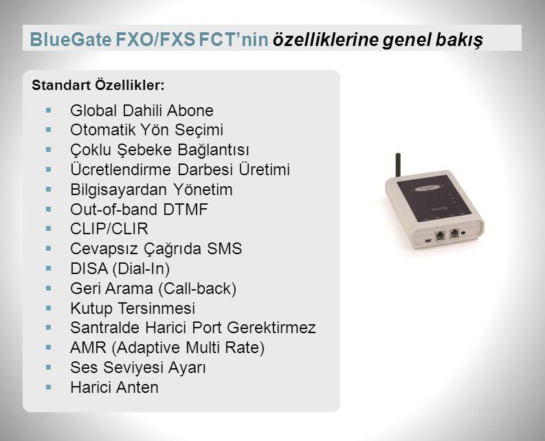 BlueGate FXO/FXS FCT'nin fiziksel özellikleri Montaj Tipi: Duvar veya masa üstü Ebatlar (mm): 130 x 100 x 36 Ağırlık (g): 80 Anten Sayısı: 1 Anten Tipi: SMA, indoor, mıknatıs tabanlı, kazançsız Sıcaklık Toleransı: 5ºC-40ºC Bağıl Toleransı: %10-%80 (30ºC) Güç Kaynağı: 230V (±%10) GSM Ağları: 900/1800Mhz.