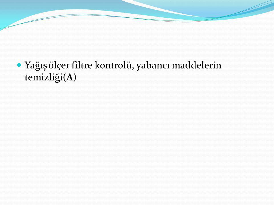 Yağış ölçer filtre kontrolü, yabancı maddelerin temizliği(A)