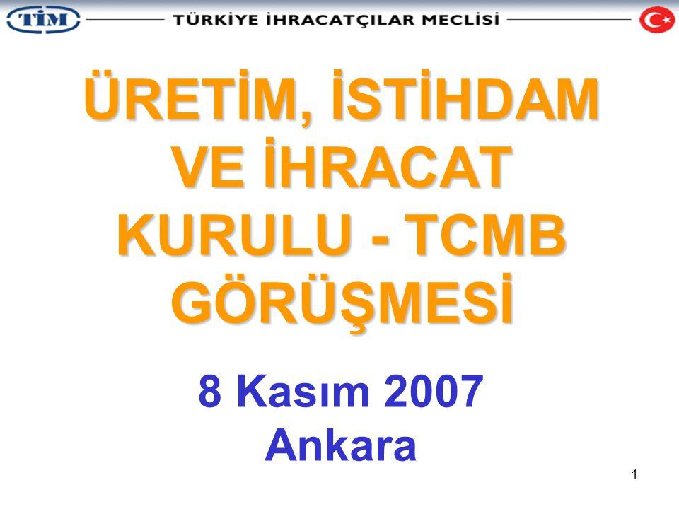 2 ÜRETİM, İSTİHDAM VE İHRACAT KURULU Yüksek faiz ortamının üretim ve ihracat üzerindeki olumsuz etkilerinden yola çıkan İhracatçı Birlikleri, TİSK, HAK-İŞ, MÜSİAD, TUSKON, TÜGİK, TÜRSAB, TÜGİAD, UND, TÜMMER, İSEDEF ve TTSD; 23 Ekim 2007 tarihinde TİM öncülüğünde İstanbul'da bir araya geldiler.