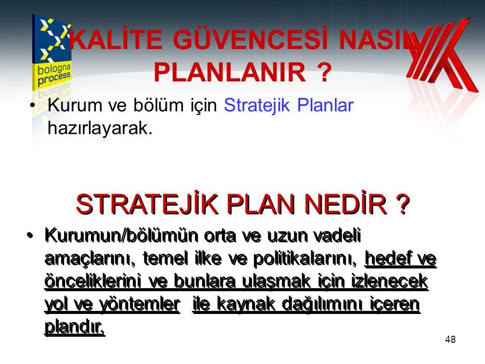 48 KALİTE GÜVENCESİ NASIL PLANLANIR ? Kurum ve bölüm için Stratejik Planlar hazırlayarak. STRATEJİK PLAN NEDİR ? Kurumun/bölümün orta ve uzun vadeli a