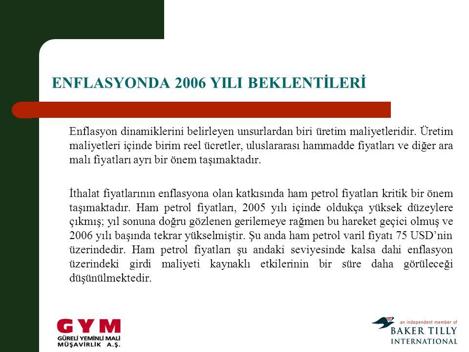 ENFLASYONDA 2006 YILI BEKLENTİLERİ Enflasyon dinamiklerini belirleyen unsurlardan biri üretim maliyetleridir.