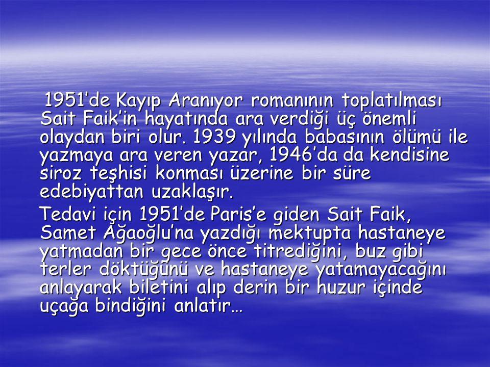 1951'de Kayıp Aranıyor romanının toplatılması Sait Faik'in hayatında ara verdiği üç önemli olaydan biri olur.