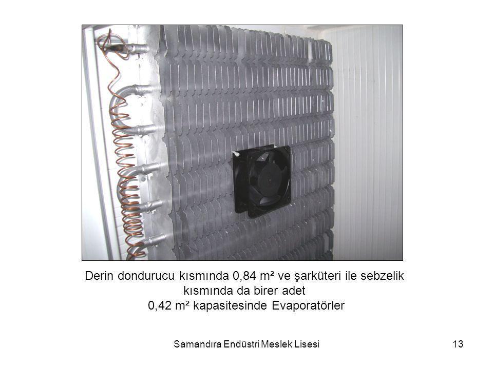 Samandıra Endüstri Meslek Lisesi13 Derin dondurucu kısmında 0,84 m² ve şarküteri ile sebzelik kısmında da birer adet 0,42 m² kapasitesinde Evaporatörl