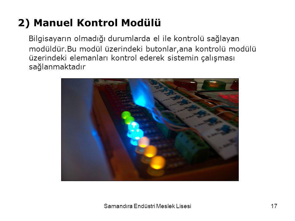 Samandıra Endüstri Meslek Lisesi17 2) Manuel Kontrol Modülü Bilgisayarın olmadığı durumlarda el ile kontrolü sağlayan modüldür.Bu modül üzerindeki but