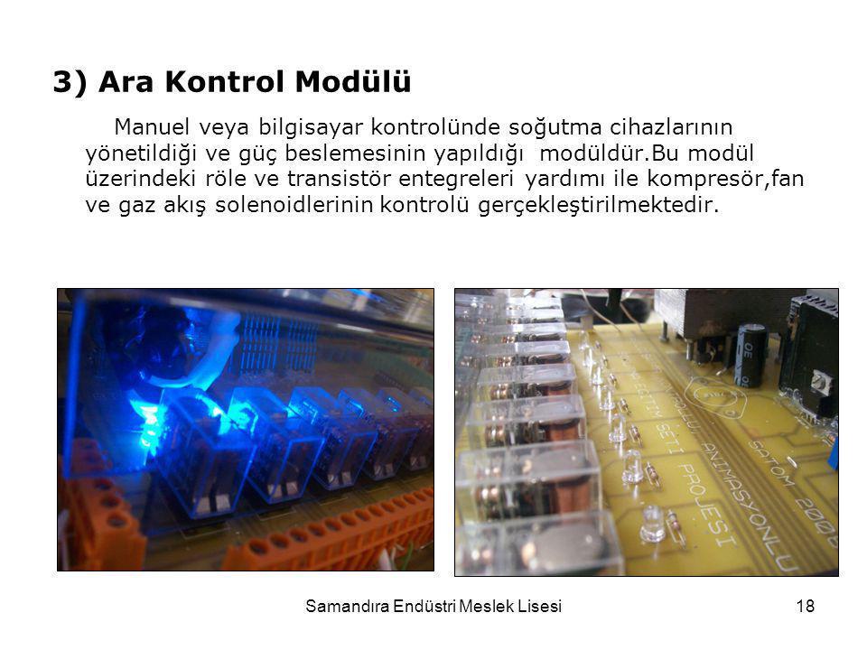 Samandıra Endüstri Meslek Lisesi18 3) Ara Kontrol Modülü Manuel veya bilgisayar kontrolünde soğutma cihazlarının yönetildiği ve güç beslemesinin yapıl