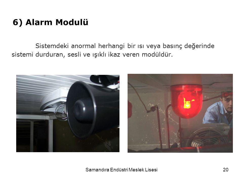 Samandıra Endüstri Meslek Lisesi20 6) Alarm Modulü Sistemdeki anormal herhangi bir ısı veya basınç değerinde sistemi durduran, sesli ve ışıklı ikaz ve