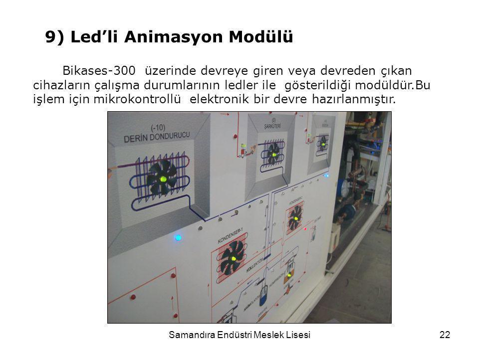 Samandıra Endüstri Meslek Lisesi22 Bikases-300 üzerinde devreye giren veya devreden çıkan cihazların çalışma durumlarının ledler ile gösterildiği modü