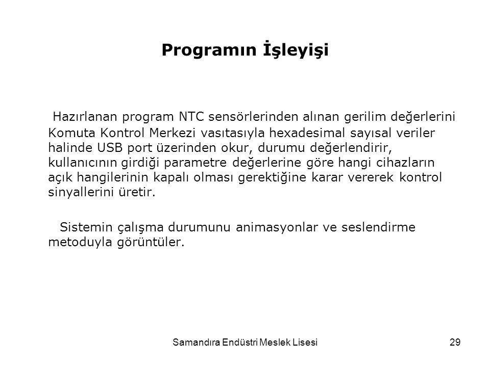 Samandıra Endüstri Meslek Lisesi29 Programın İşleyişi Hazırlanan program NTC sensörlerinden alınan gerilim değerlerini Komuta Kontrol Merkezi vasıtası