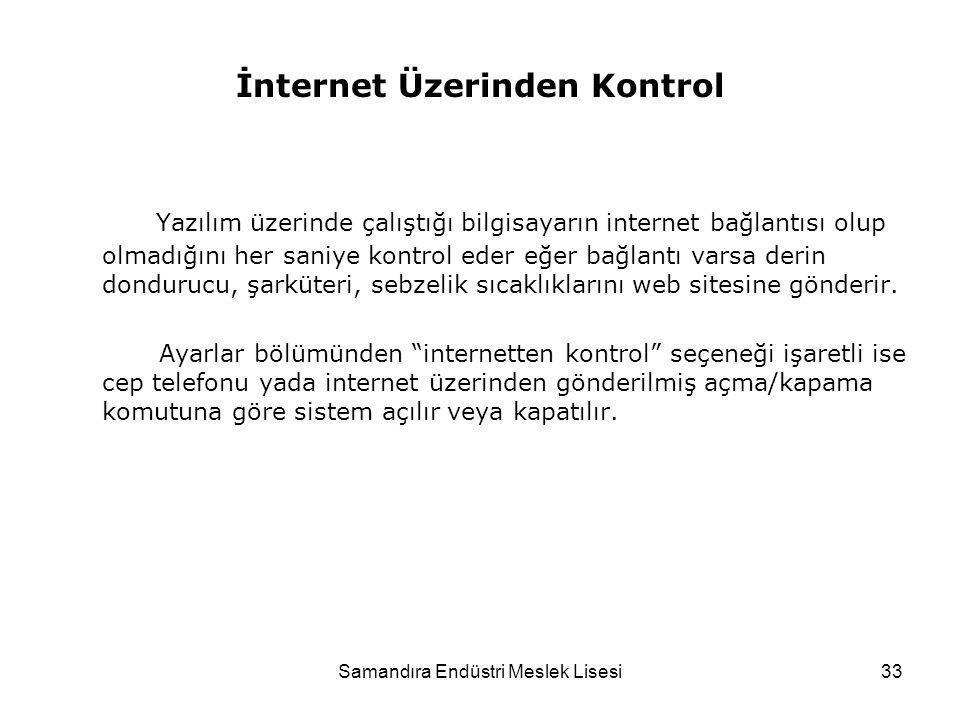Samandıra Endüstri Meslek Lisesi33 İnternet Üzerinden Kontrol Yazılım üzerinde çalıştığı bilgisayarın internet bağlantısı olup olmadığını her saniye k