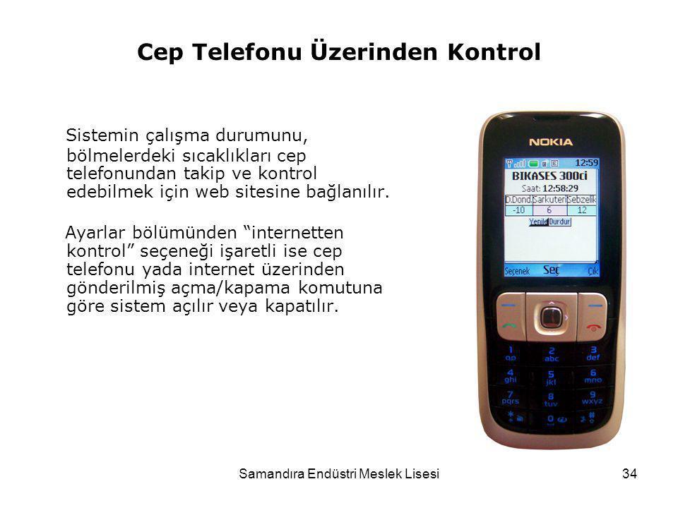 Samandıra Endüstri Meslek Lisesi34 Cep Telefonu Üzerinden Kontrol Sistemin çalışma durumunu, bölmelerdeki sıcaklıkları cep telefonundan takip ve kontr