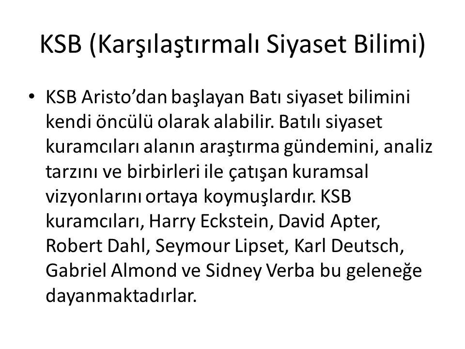 KSB (Karşılaştırmalı Siyaset Bilimi) KSB Aristo'dan başlayan Batı siyaset bilimini kendi öncülü olarak alabilir. Batılı siyaset kuramcıları alanın ara