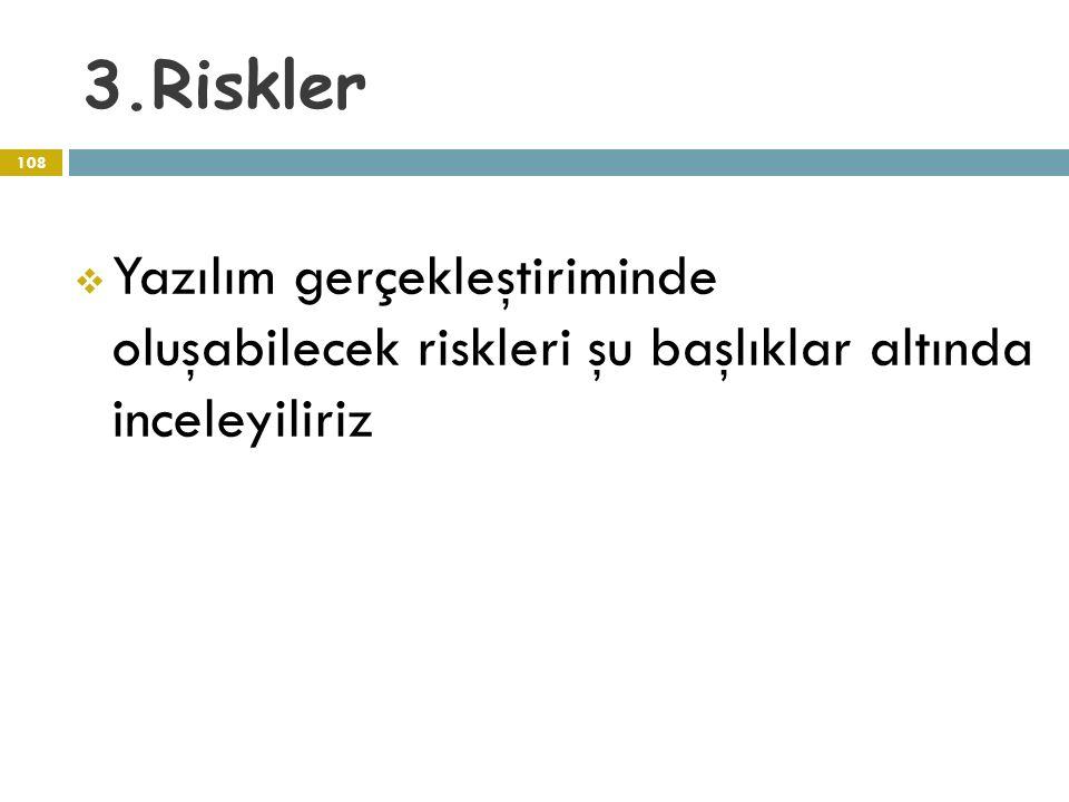 3.Riskler 108  Yazılım gerçekleştiriminde oluşabilecek riskleri şu başlıklar altında inceleyiliriz