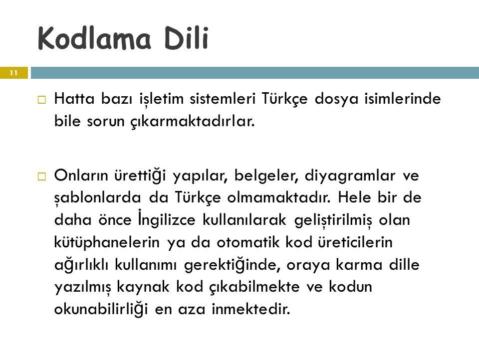 Kodlama Dili  Hatta bazı işletim sistemleri Türkçe dosya isimlerinde bile sorun çıkarmaktadırlar.  Onların üretti ğ i yapılar, belgeler, diyagramlar