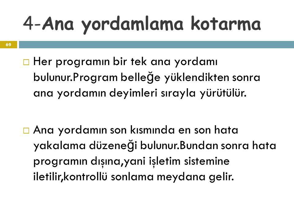 4-Ana yordamlama kotarma 69  Her programın bir tek ana yordamı bulunur.Program belle ğ e yüklendikten sonra ana yordamın deyimleri sırayla yürütülür.