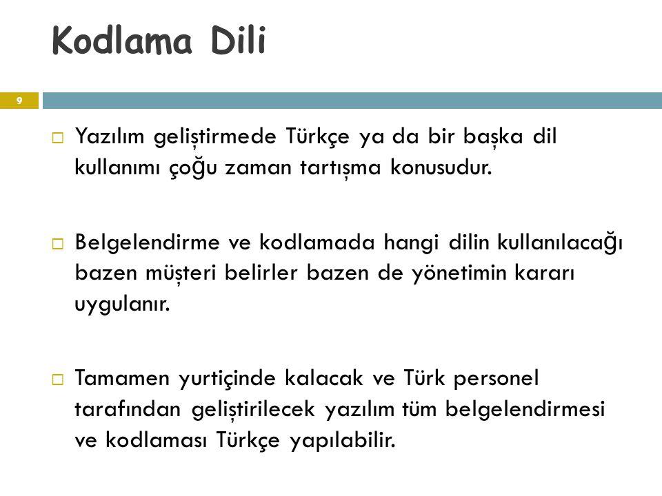 Kodlama Dili  Yazılım geliştirmede Türkçe ya da bir başka dil kullanımı ço ğ u zaman tartışma konusudur.  Belgelendirme ve kodlamada hangi dilin kul
