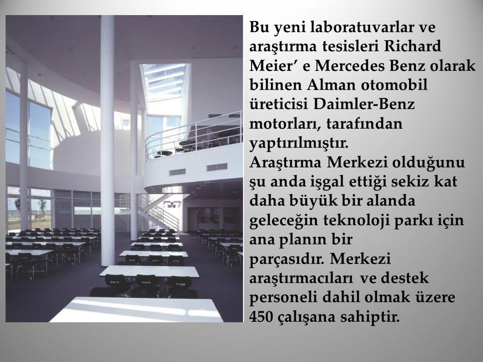 Bu yeni laboratuvarlar ve araştırma tesisleri Richard Meier' e Mercedes Benz olarak bilinen Alman otomobil üreticisi Daimler-Benz motorları, tarafında