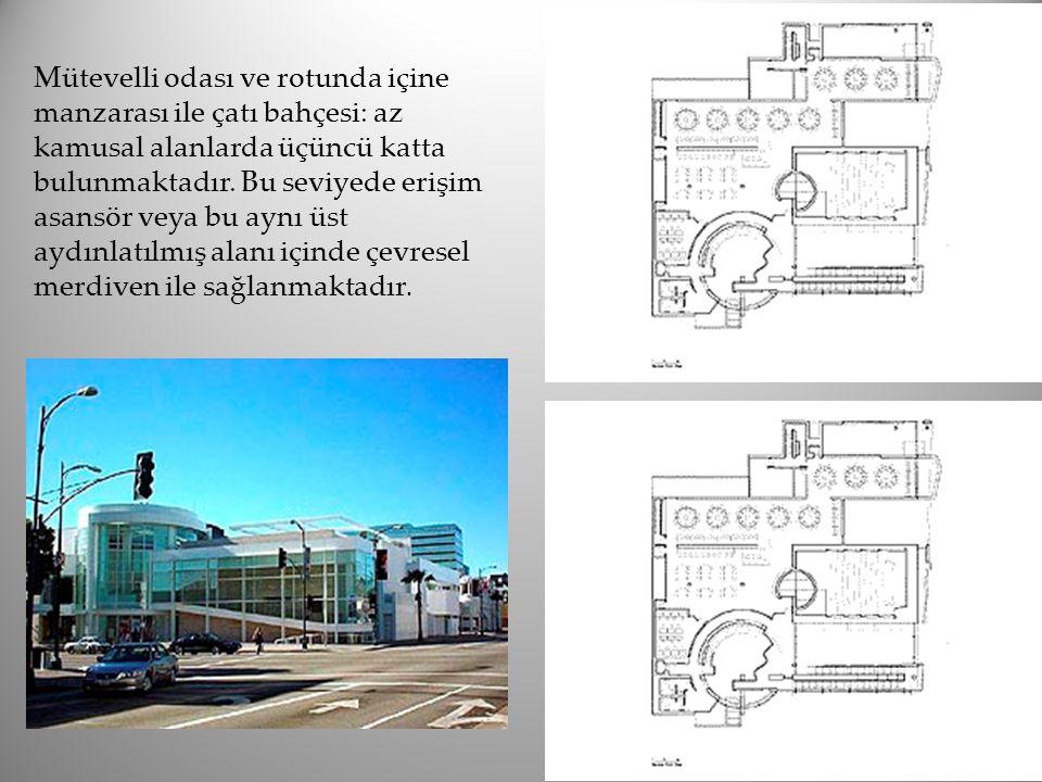 Mütevelli odası ve rotunda içine manzarası ile çatı bahçesi: az kamusal alanlarda üçüncü katta bulunmaktadır. Bu seviyede erişim asansör veya bu aynı