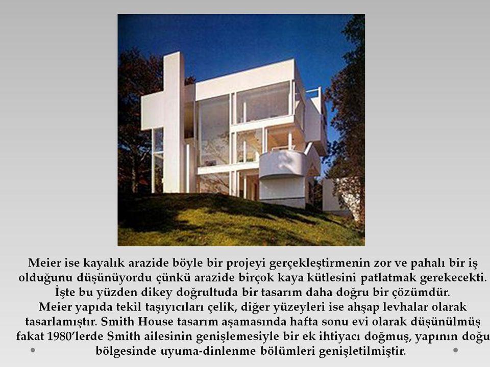 Tipik Richard Meier yapısı olan bu bina onun beyaz metal paneller ve organik formlar gibi beyaz anahtar ifade unsurlar olarak ifade edilmiştir.