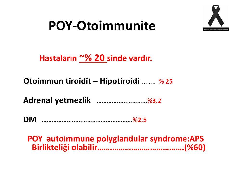 POY-Otoimmunite Hastaların ~% 20 sinde vardır. Otoimmun tiroidit – Hipotiroidi …….. % 25 Adrenal yetmezlik …………………………%3.2 DM ………………………………………………%2.5 PO