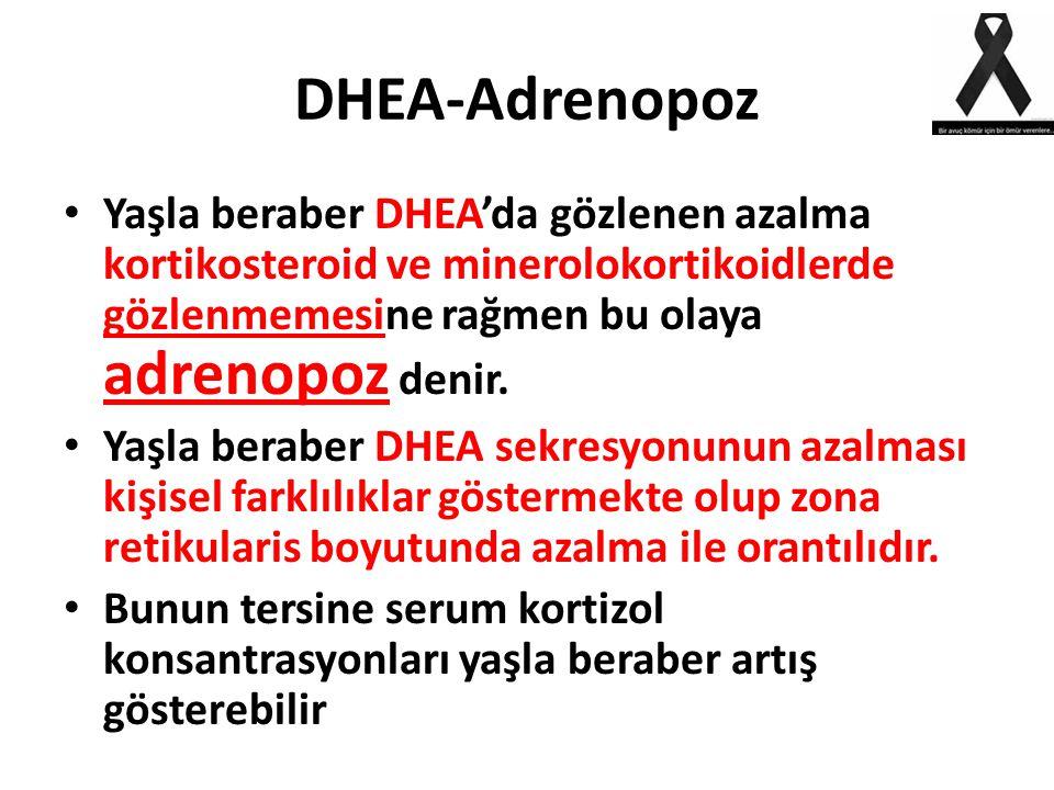 DHEA-Adrenopoz Yaşla beraber DHEA'da gözlenen azalma kortikosteroid ve minerolokortikoidlerde gözlenmemesine rağmen bu olaya adrenopoz denir. Yaşla be