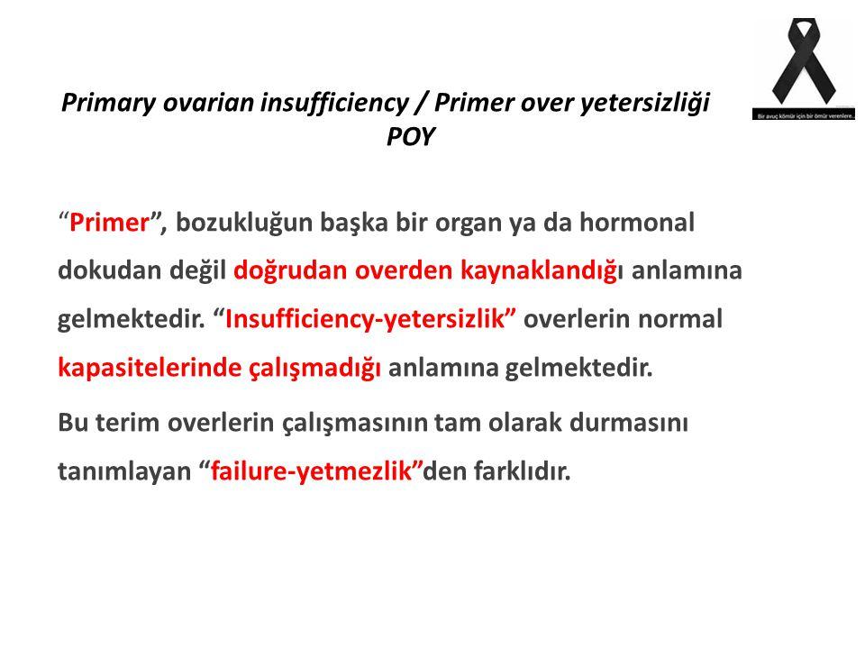 """Primary ovarian insufficiency / Primer over yetersizliği POY """"Primer"""", bozukluğun başka bir organ ya da hormonal dokudan değil doğrudan overden kaynak"""