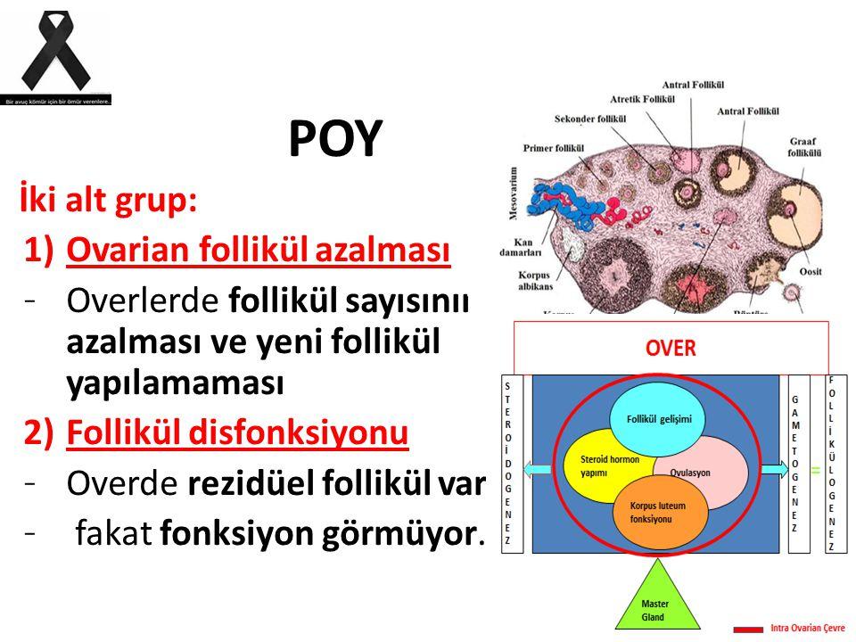 POY İki alt grup: 1)Ovarian follikül azalması – Overlerde follikül sayısının azalması ve yeni follikül yapılamaması 2)Follikül disfonksiyonu – Overde