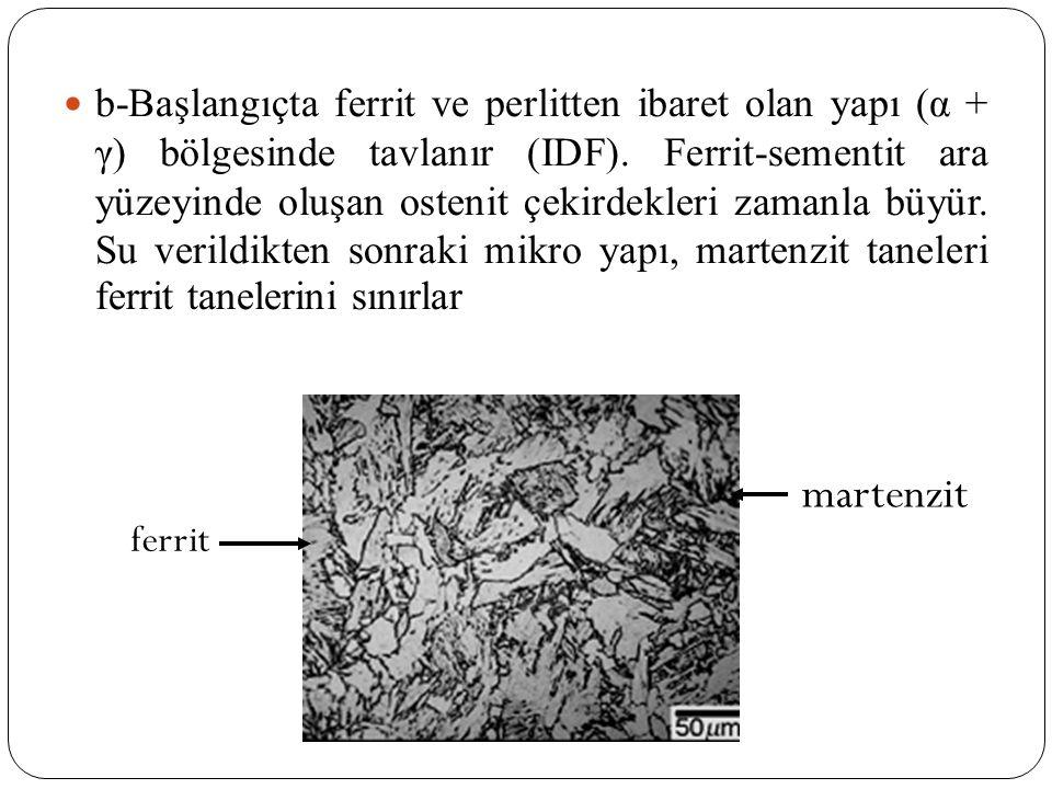 b-Başlangıçta ferrit ve perlitten ibaret olan yapı (α + γ) bölgesinde tavlanır (IDF). Ferrit-sementit ara yüzeyinde oluşan ostenit çekirdekleri zamanl