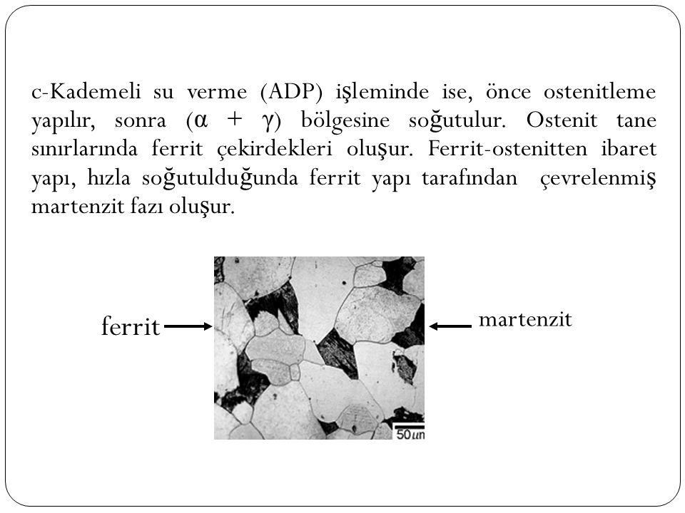 c-Kademeli su verme (ADP) i ş leminde ise, önce ostenitleme yapılır, sonra ( α + γ ) bölgesine so ğ utulur. Ostenit tane sınırlarında ferrit çekirdekl