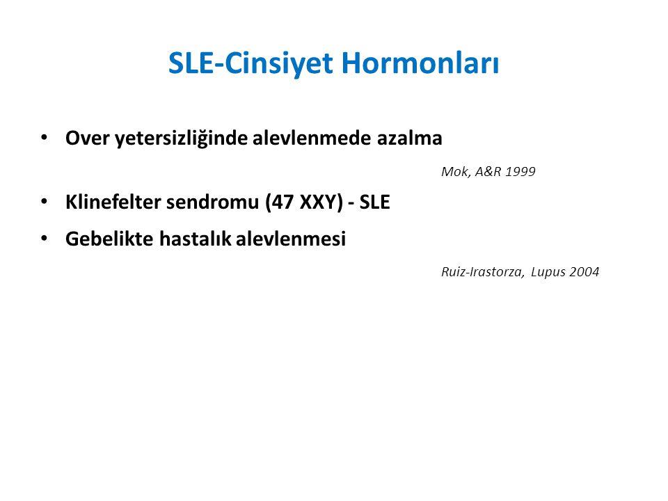 SLE-Cinsiyet Hormonları Over yetersizliğinde alevlenmede azalma Mok, A&R 1999 Klinefelter sendromu (47 XXY) - SLE Gebelikte hastalık alevlenmesi Ruiz-Irastorza, Lupus 2004