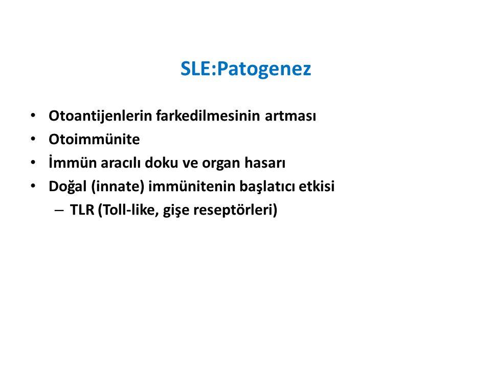 SLE:Patogenez Otoantijenlerin farkedilmesinin artması Otoimmünite İmmün aracılı doku ve organ hasarı Doğal (innate) immünitenin başlatıcı etkisi – TLR (Toll-like, gişe reseptörleri)
