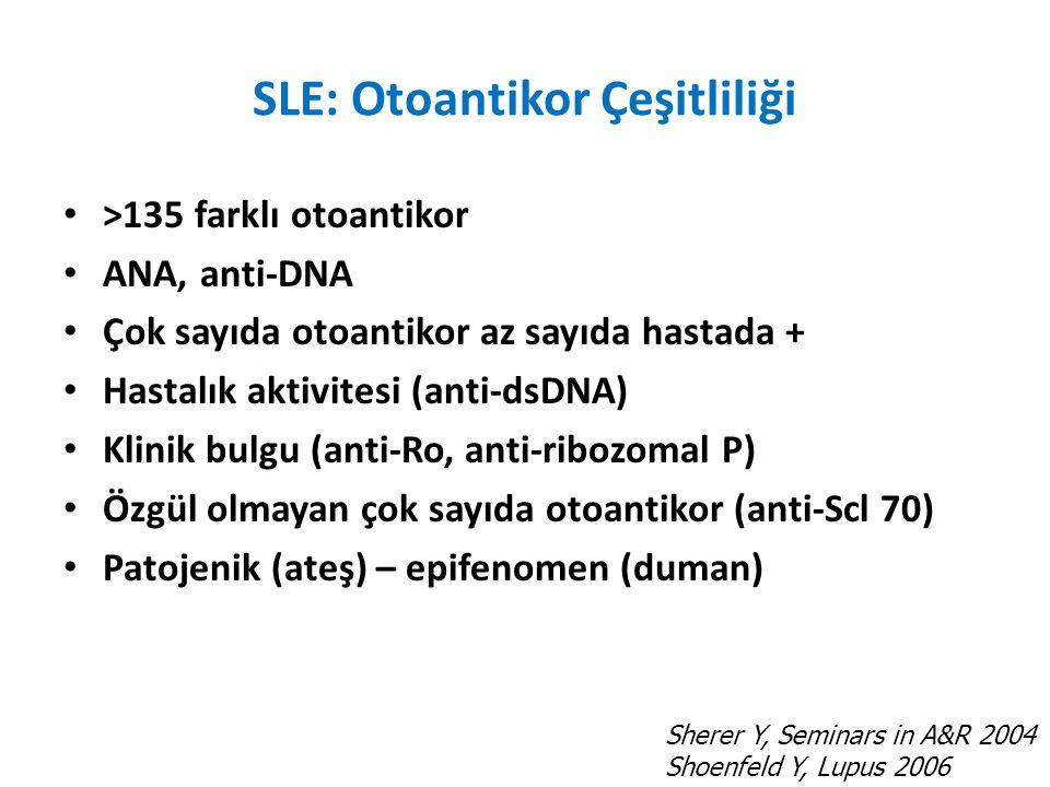 SLE: Otoantikor Çeşitliliği >135 farklı otoantikor ANA, anti-DNA Çok sayıda otoantikor az sayıda hastada + Hastalık aktivitesi (anti-dsDNA) Klinik bulgu (anti-Ro, anti-ribozomal P) Özgül olmayan çok sayıda otoantikor (anti-Scl 70) Patojenik (ateş) – epifenomen (duman) Sherer Y, Seminars in A&R 2004 Shoenfeld Y, Lupus 2006