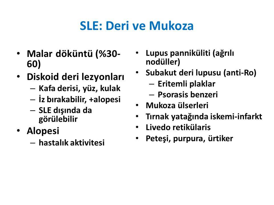 SLE: Deri ve Mukoza Malar döküntü (%30- 60) Diskoid deri lezyonları – Kafa derisi, yüz, kulak – İz bırakabilir, +alopesi – SLE dışında da görülebilir Alopesi – hastalık aktivitesi Lupus panniküliti (ağrılı nodüller) Subakut deri lupusu (anti-Ro) – Eritemli plaklar – Psorasis benzeri Mukoza ülserleri Tırnak yatağında iskemi-infarkt Livedo retikülaris Peteşi, purpura, ürtiker