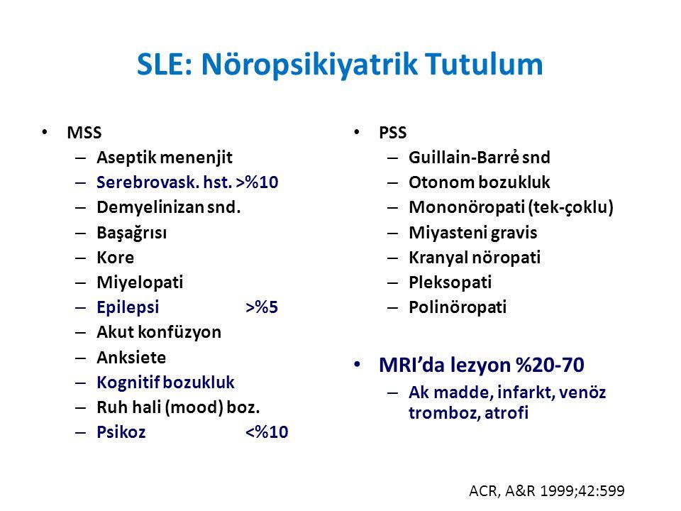 SLE: Nöropsikiyatrik Tutulum MSS – Aseptik menenjit – Serebrovask. hst. >%10 – Demyelinizan snd. – Başağrısı – Kore – Miyelopati – Epilepsi>%5 – Akut