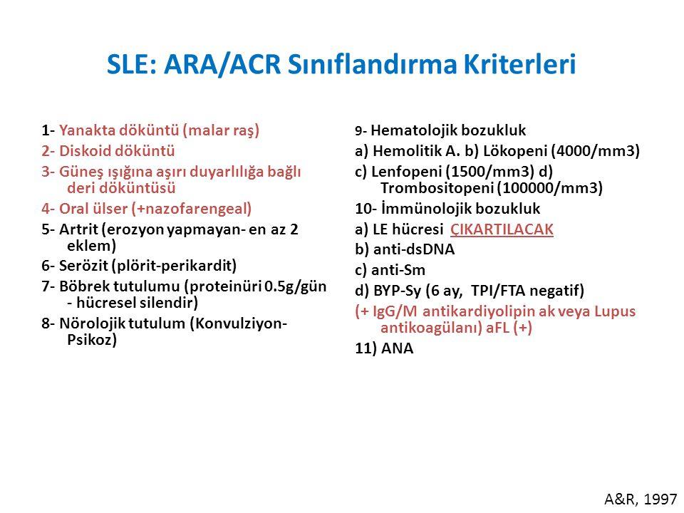 SLE: ARA/ACR Sınıflandırma Kriterleri 1- Yanakta döküntü (malar raş) 2- Diskoid döküntü 3- Güneş ışığına aşırı duyarlılığa bağlı deri döküntüsü 4- Oral ülser (+nazofarengeal) 5- Artrit (erozyon yapmayan- en az 2 eklem) 6- Serözit (plörit-perikardit) 7- Böbrek tutulumu (proteinüri 0.5g/gün - hücresel silendir) 8- Nörolojik tutulum (Konvulziyon- Psikoz) 9- Hematolojik bozukluk a) Hemolitik A.
