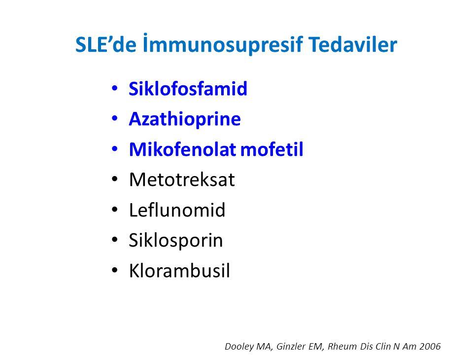 SLE'de İmmunosupresif Tedaviler Siklofosfamid Azathioprine Mikofenolat mofetil Metotreksat Leflunomid Siklosporin Klorambusil Dooley MA, Ginzler EM, Rheum Dis Clin N Am 2006