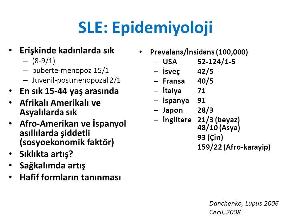 SLE: Epidemiyoloji Erişkinde kadınlarda sık – (8-9/1) – puberte-menopoz 15/1 – Juvenil-postmenopozal 2/1 En sık 15-44 yaş arasında Afrikalı Amerikalı ve Asyalılarda sık Afro-Amerikan ve İspanyol asıllılarda şiddetli (sosyoekonomik faktör) Sıklıkta artış.