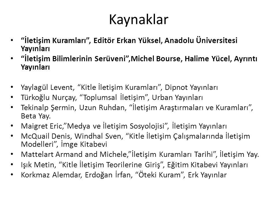 """Kaynaklar """"İletişim Kuramları"""", Editör Erkan Yüksel, Anadolu Üniversitesi Yayınları """"İletişim Bilimlerinin Serüveni"""",Michel Bourse, Halime Yücel, Ayrı"""