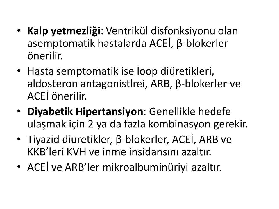 Kalp yetmezliği: Ventrikül disfonksiyonu olan asemptomatik hastalarda ACEİ, β-blokerler önerilir. Hasta semptomatik ise loop diüretikleri, aldosteron