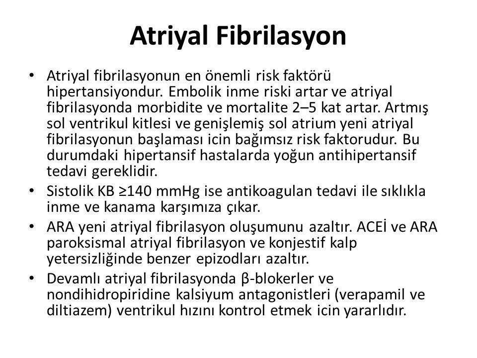 Atriyal Fibrilasyon Atriyal fibrilasyonun en önemli risk faktörü hipertansiyondur. Embolik inme riski artar ve atriyal fibrilasyonda morbidite ve mort