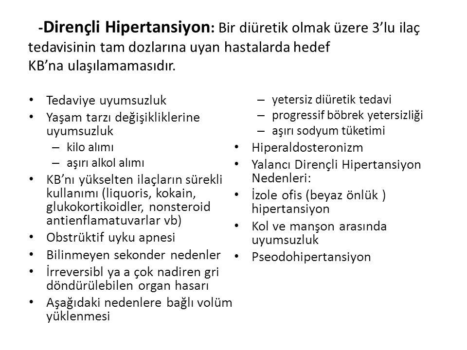 - Dirençli Hipertansiyon : Bir diüretik olmak üzere 3'lu ilaç tedavisinin tam dozlarına uyan hastalarda hedef KB'na ulaşılamamasıdır. Tedaviye uyumsuz