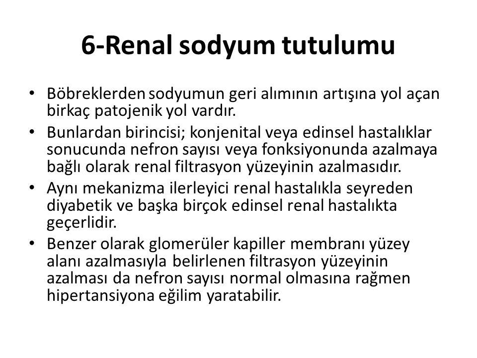 6-Renal sodyum tutulumu Böbreklerden sodyumun geri alımının artışına yol açan birkaç patojenik yol vardır. Bunlardan birincisi; konjenital veya edinse