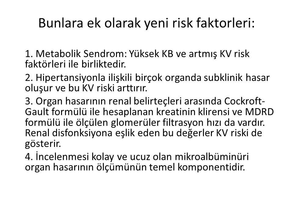 Bunlara ek olarak yeni risk faktorleri: 1. Metabolik Sendrom: Yüksek KB ve artmış KV risk faktörleri ile birliktedir. 2. Hipertansiyonla ilişkili birç
