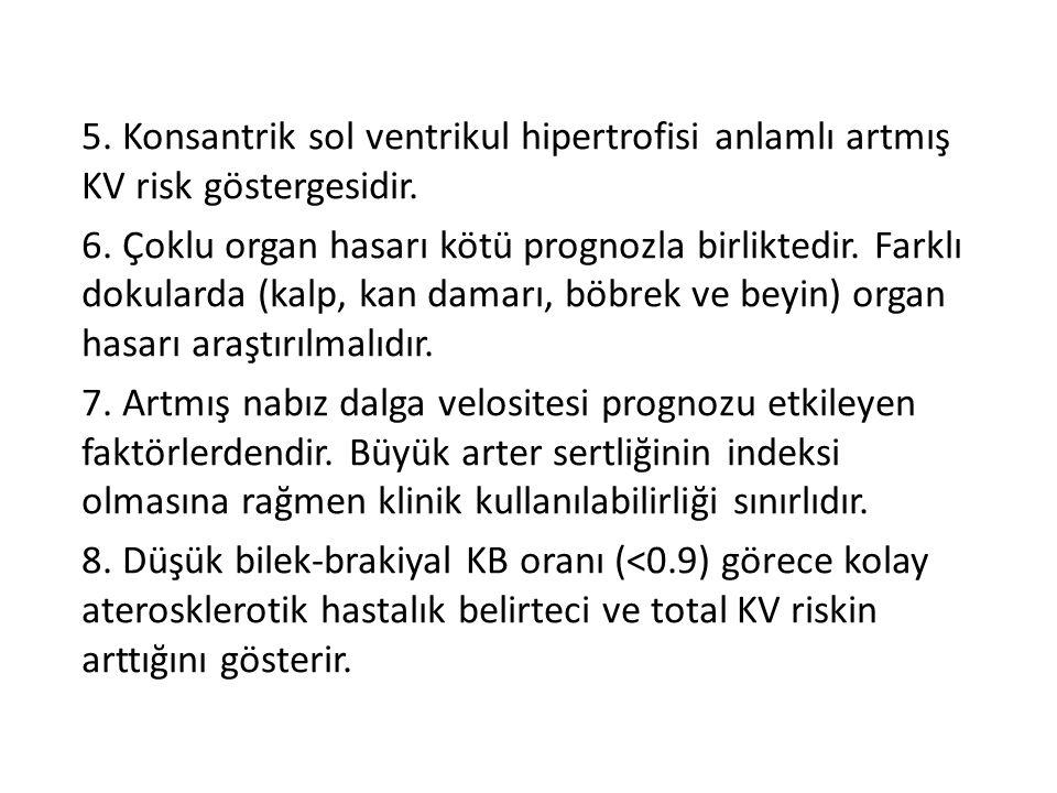5. Konsantrik sol ventrikul hipertrofisi anlamlı artmış KV risk göstergesidir. 6. Çoklu organ hasarı kötü prognozla birliktedir. Farklı dokularda (kal