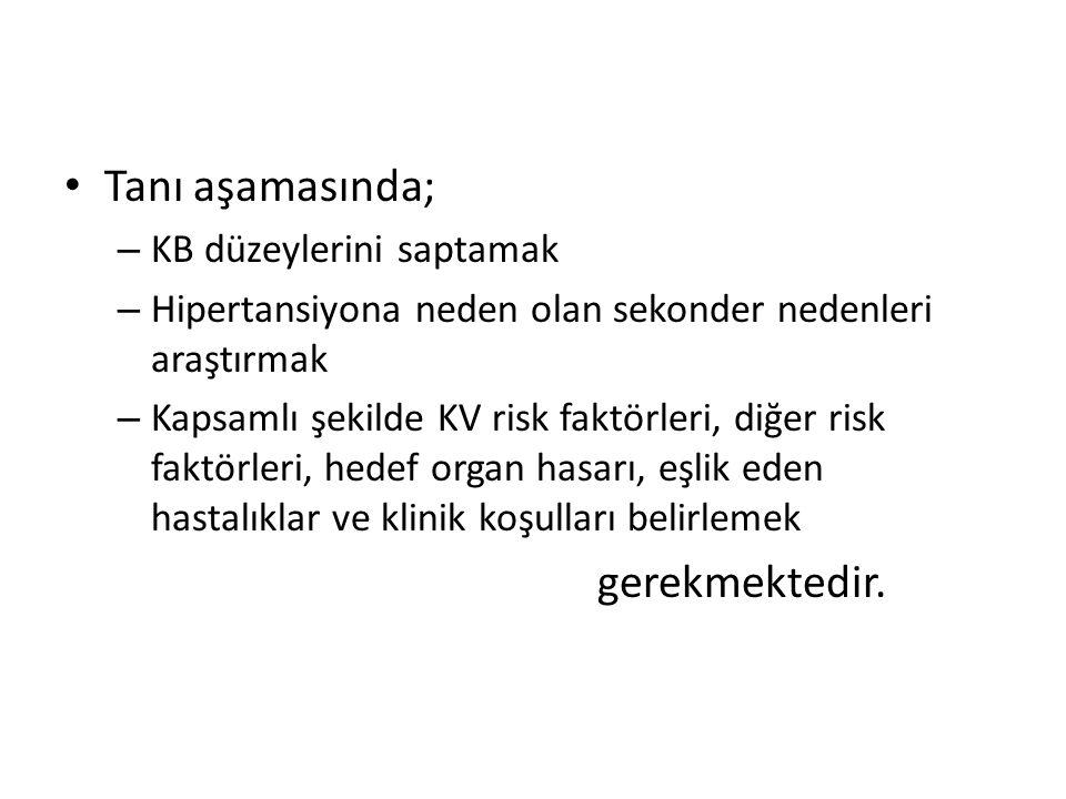 Tanı aşamasında; – KB düzeylerini saptamak – Hipertansiyona neden olan sekonder nedenleri araştırmak – Kapsamlı şekilde KV risk faktörleri, diğer risk