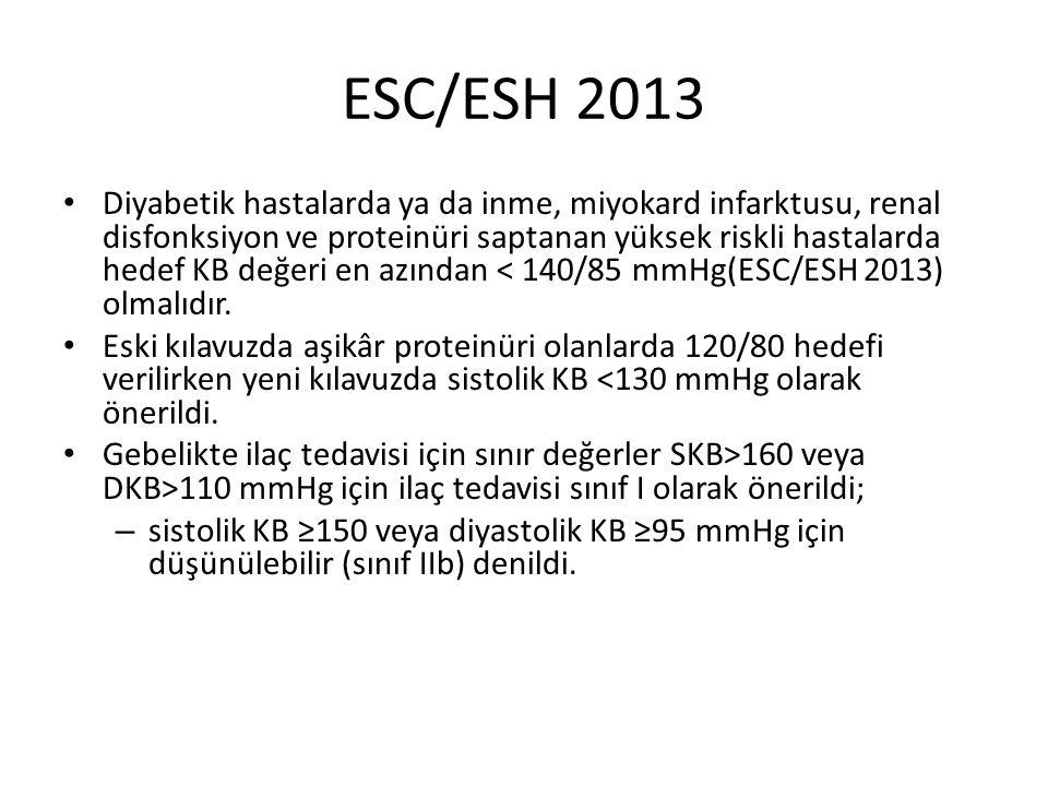 ESC/ESH 2013 Diyabetik hastalarda ya da inme, miyokard infarktusu, renal disfonksiyon ve proteinüri saptanan yüksek riskli hastalarda hedef KB değeri