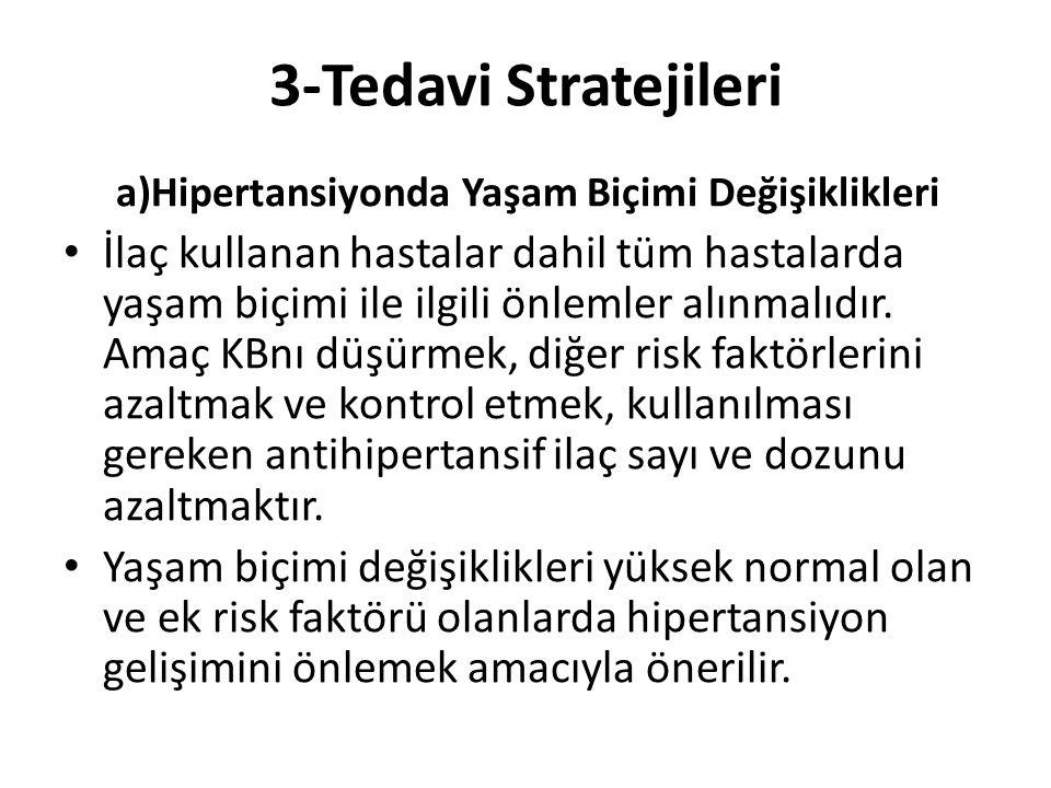 3-Tedavi Stratejileri a)Hipertansiyonda Yaşam Biçimi Değişiklikleri İlaç kullanan hastalar dahil tüm hastalarda yaşam biçimi ile ilgili önlemler alınm