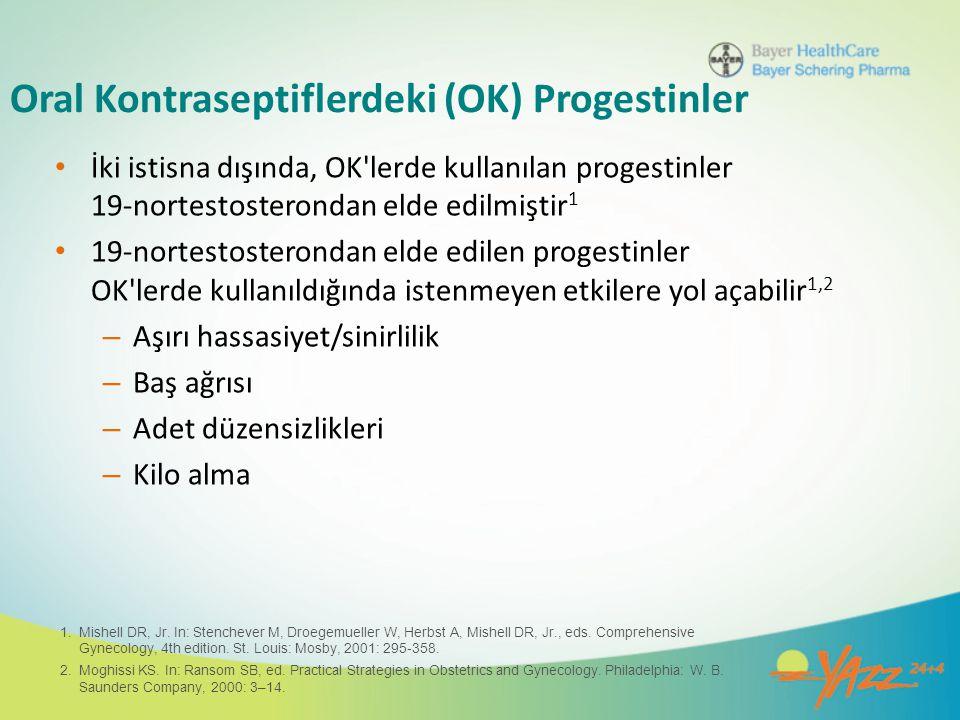 Oral Kontraseptiflerdeki (OK) Progestinler İki istisna dışında, OK'lerde kullanılan progestinler 19-nortestosterondan elde edilmiştir 1 19-nortestoste