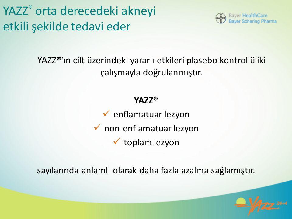 YAZZ ® orta derecedeki akneyi etkili şekilde tedavi eder YAZZ®'ın cilt üzerindeki yararlı etkileri plasebo kontrollü iki çalışmayla doğrulanmıştır. YA